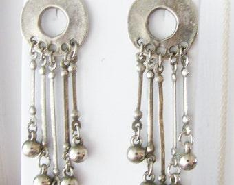 Vintage Dangling silver wreath bohemian earrings (C7)