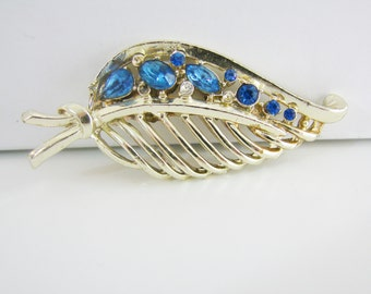 SALE- Vintage gold leaf brooch with blue rhinestones