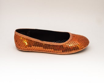 Sequin Custom Youth Girl Orange Dress Shoes