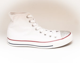 AB Crystal Rhinestoned Toes on Optical White Converse Hi Top Sneakers Shoes