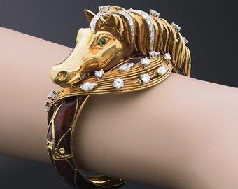 18K Diamond Enamel Horse Bracelet Equestrian Jewelry J.E. Caldwell Jewelry, Kentucky Derby, Preakness Stakes, Pimlico