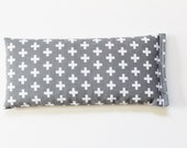 Flax Seed Pillow - Lavender Eye Pillow - Meditation Relaxation Aromatherapy - Gray Swiss Cross