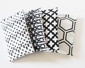 Set of 4 Modern Art Deco Lavender Bags, Black and White Bold Geometric Graphic Prints, Scented Sachets