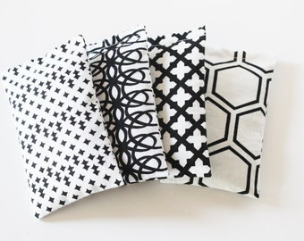 Set of 4 Modern Lavender Bags, Black & White Graphic Print, Lavender Scented Sachets