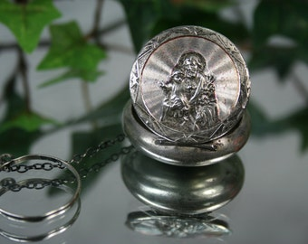 Vintage Silver Tone Communion Locket- Chain and Ring Attached