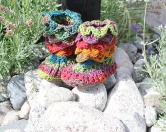 Handmade Crochet Rainbow Crocodile Stitch Booties, shoes, socks, kids, teenagers, Adults with Leather Soles- CUSTOM OPTIONS AVAILABLE