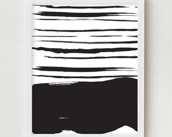 Stripes Print Minimalist Black and White Stripes Print Abstract Wall Art Decor Simple Modern Horizon Horizontal Minimalist Pattern Poster