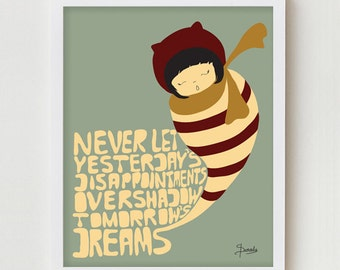"Positive Print Art / Typography Poster ""Let Go of Disappointments"" Hand Drawn Modern Art with Inspiring Saying and Illustration"
