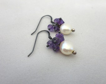 Amethyst & White Pearl Button Earrings