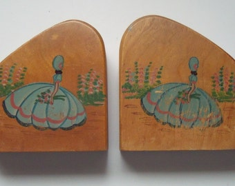 Vintage Wood Handpainted Crinoline Lady Bookends 5 in. wide x 4.25 inches high x 1.75 in. thick