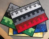 RESERVED- Black White & Color Dentals Quilted Placemats Set of 5