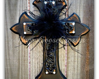 """Wall Cross - Wood Cross - X-Small - Antiqued Black """"Shabby Chic"""" with feathers and rhinestones"""