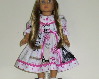Paris print dress designed for American Girl 18 inch doll   No. 660