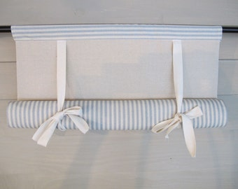 Spa Blue 36 Inch Long Cotton Ticking Swedish Roll Up Shade Stage Coach Blind
