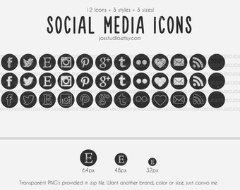 Chalk It Up Series - Social Media Round Icons - use for your blog, website, or portfolio. In multiple sizes!