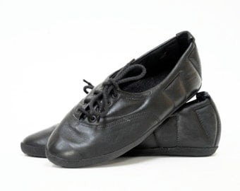 Quilted Black Leather Skimmers Skippies Flats