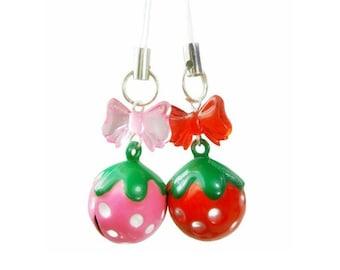 Kawaii Strawberry Charm Phone Charm Jingle Bell Pink Red Strawberry Planner Charm - 1 Charm - You Choose