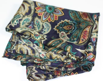 Paisley Scarf Navy Multi Color Square Polyester Vintage