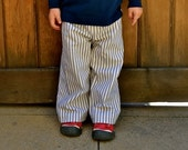 Blue and White Ticking Stripe Pants