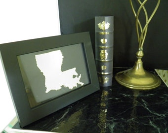LOUISIANA   personalized  framed art design of the State of Louisiana, all fifty states available