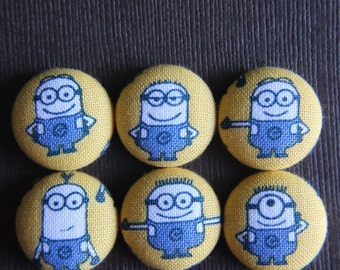 Minions Mania Set of 6 Fabric Covered Button Magnets -- babblingbrookes