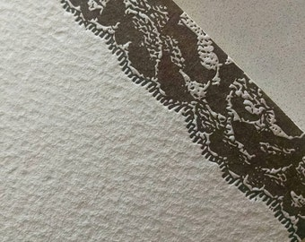 Brown Lace Letterpress Stationery Note Cards - 5 pack