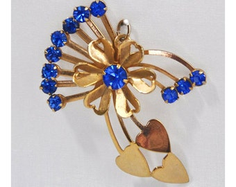Vintage Gold Tone and Sapphire Rhinestones Flower and Heart Pendant