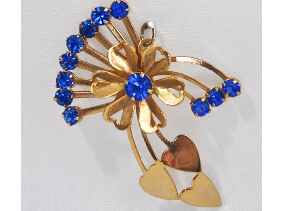 1950s 60s Gold Tone and Sapphire Rhinestones Flower and Heart Vintage Pendant