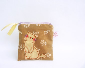 Cute Cat Pouch, Coin Purse, Cat Purse, Cat Zipper Pouch, Small Change Pouch, Fabric Purse, Kitty Purse - Cat