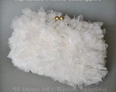 Wedding Handbag Feathery Ivory Tulle Textures,WHITE ANGEL, Free Shipping, Clutch, Bag, Purse, Soft Mesh Gauze Voile Fabric, 2015