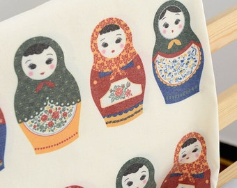 Retro Shabby Chic Nordic Floral Tulip Big Matryoshka Russian Doll Nesting Doll(Panel A, 28 Dolls Cut) -Cotton Fabric(11.8x55 Inches)