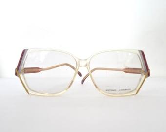 Big Disco Eyeglasses Le Star Never Used Era Frame Antonio Leonardo Mod Butterfly CatEye Glasses NOS Charlie's Angels Mod Designer 56 14 sale