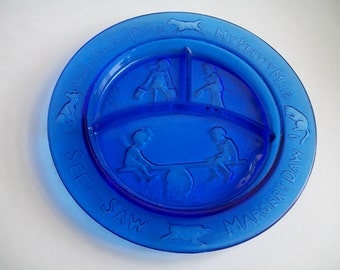 Cobalt Glass Nursery Rhyme Plate Childs Grill Plate