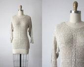 70s honey wheat sweater / eyelet sweater
