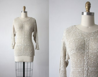 70s honey wheat sweater / eyelet sweater