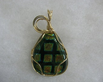 Dichroic Wire Wrapped Glass Pendant Lot #1
