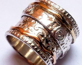 spinner ring for woman, spinning ring, silver and gold rings , silver rings for woman , jewelry rings , filigree spinner ring