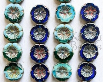 Czech Glass Flower Beads, Green Glass Beads, Flower Beads, 15x5mm, Sapphire Color, Mint Green Color, Fire Polished Beads, Flower Shape Beads