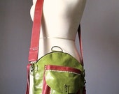 Cross body bag, Saddle , Lime, leather bag, Leather Backpack, convertible backpack bag, Rucksack