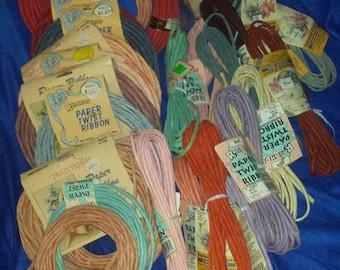 24 packs of 6 yard vintage long paper twist ribbon and capers huge lot large flat rate box destash 144 yards 24 packs plus