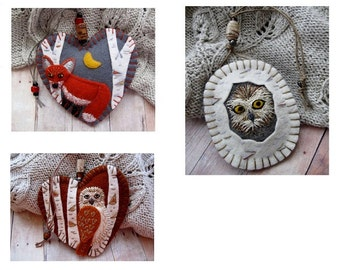 Made to Order Embroidered Ornaments - Choose Red Fox In Birch, Oval Owl in Birch, or Owl in Birch Forest