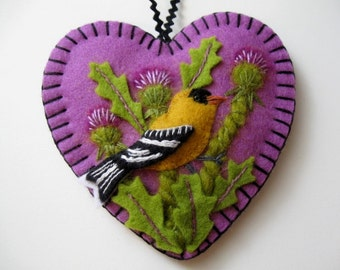 Goldfinch and Thistles Ornament - Made to Order Embroidered Fiber Art