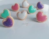 Heart shaped Sugar cookie Set of 4 earrings-Sugar cookie collection-Scented-Miniature food jewelry FREE SHIPPING