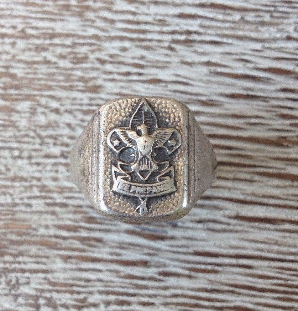 vintage boy scout signet ring silver