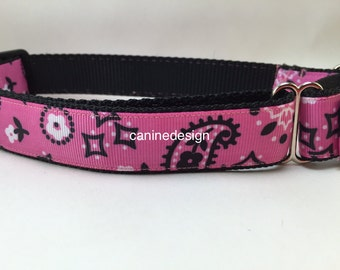Dog Collar, Pink Bandana ,1 inch wide, adjustable, quick release, metal buckle, chain, martingale, hybrid, nylon