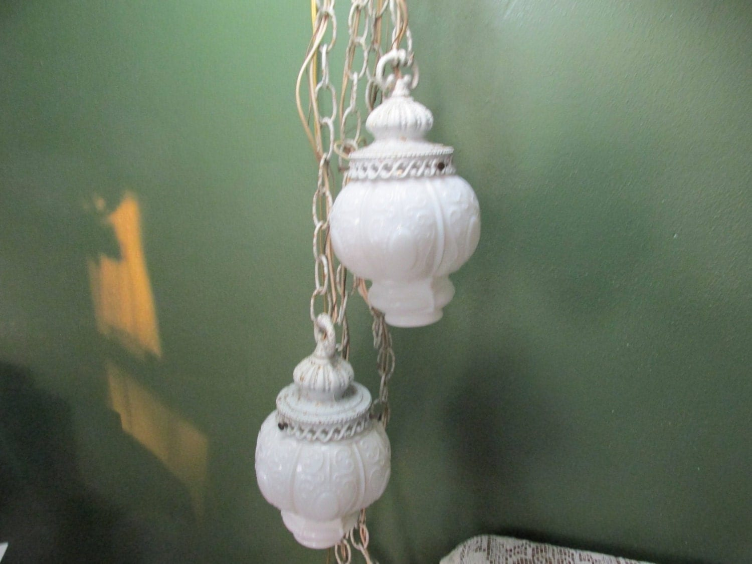 Milk Glass Bath Light: Hanging Swag Light Double Ceiling Fixture Milk Glass Globes