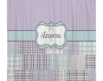 Personalized Madras Plaid shower curtain -  Lavender, Purple and Aqua.