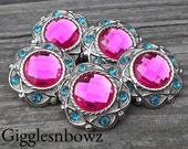 5 Rhinestone Buttons- Vintage Style SHoCKiNG PiNK/ TuRQUoiSE Rhinestone Buttons 25mm- Headband Supplies-DIY Supplies- Sewing Button