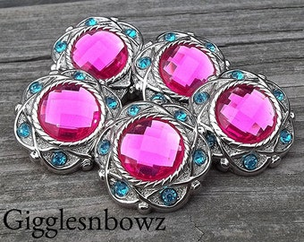 CHRiSTMaS in JuLY SaLE- NEW Set of Five LIMITED EDITION Vintage Style SHoCKiNG PiNK/ TuRQUoiSE Rhinestone Buttons 25mm