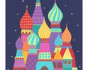 Art Print - Fine Art Print - whimsical print - colourful wall art - colorful print - architectural print - 'THEY DREAMT of SPIRES' A4
